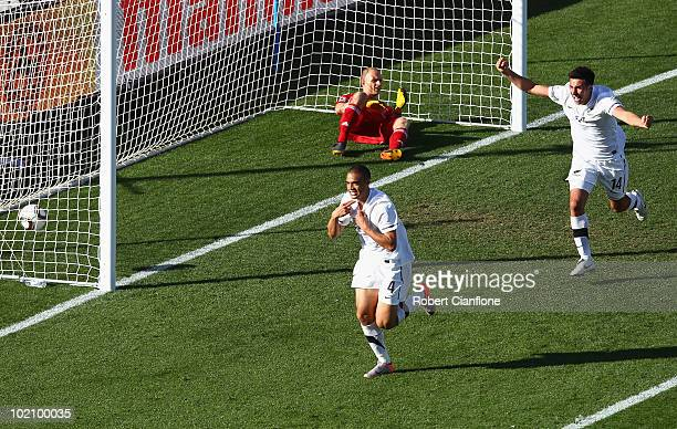 Winston Reid of New Zealand celebrates scoring the first goal for his team during the 2010 FIFA World Cup South Africa Group F match between New...