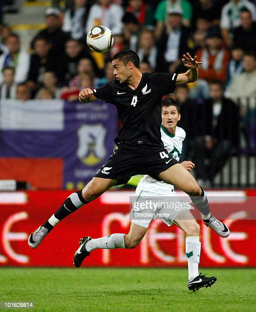 Winston Reid of New Zealand goes for a header during the International Friendly match between Slovenia and New Zealand at the Stadion Ljudski vrt on...