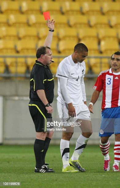 Winston Reid of the All Whites is red carded during the International Friendly match between the New Zealand All Whites and Paraguay at Westpac...