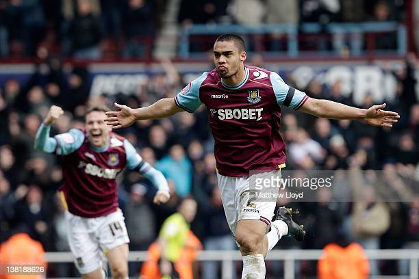 Winston Reid of West Ham celebrates scoring their second goal during the npower Championship match between West Ham United and Millwall at Boleyn...