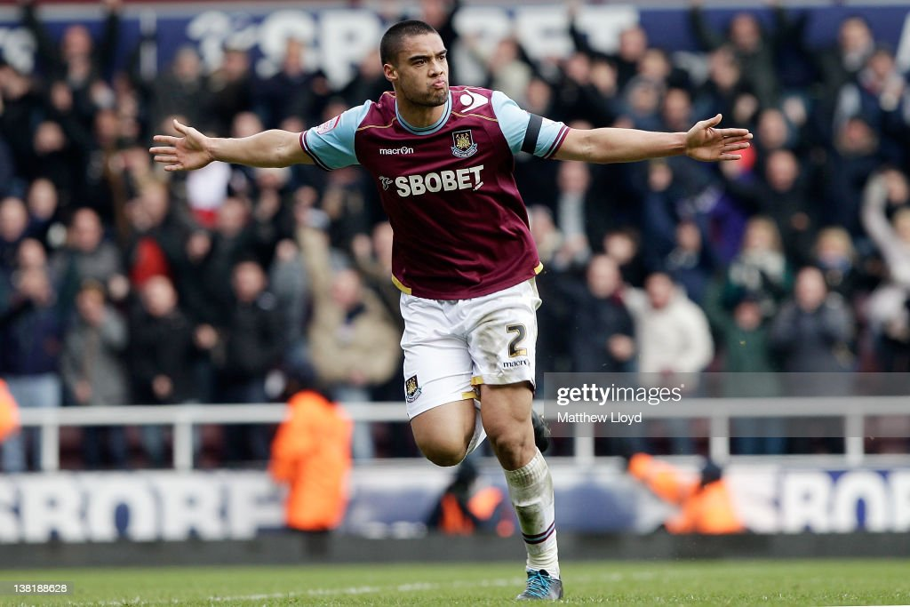 Winston Reid of West Ham celebrates scoring their second goal during the npower Championship match between West Ham United and Millwall, at Boleyn Ground on February 04, 2012 in London, England.