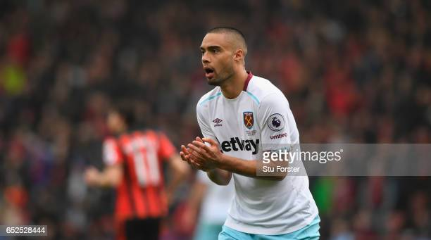 Winston Reid of West Ham during the Premier League match between AFC Bournemouth and West Ham United at Vitality Stadium on March 11 2017 in...