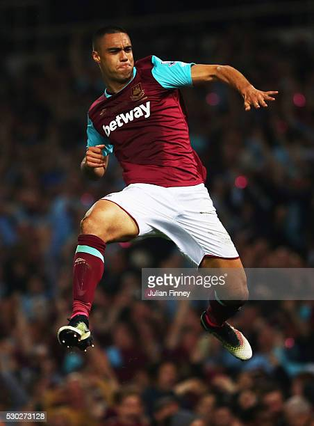 Winston Reid of West Ham United celebrates as he score their third goal during the Barclays Premier League match between West Ham United and...