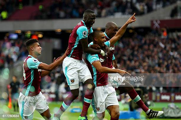Winston Reid of West Ham United celebrates scoring his team's first goal during the Premier League match between West Ham United and Sunderland at...