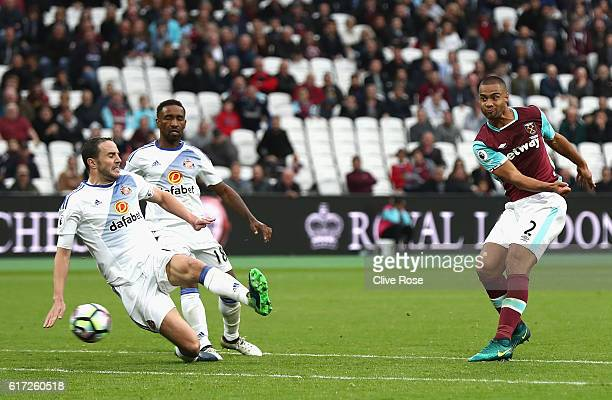 Winston Reid of West Ham United scores his sides first goal during the Premier League match between West Ham United and Sunderland at Olympic Stadium...