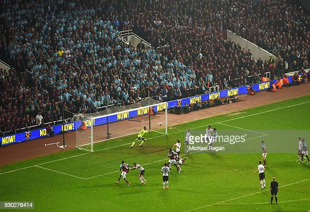 Winston Reid of West Ham United scores their third goal during the Barclays Premier League match between West Ham United and Manchester United at the...