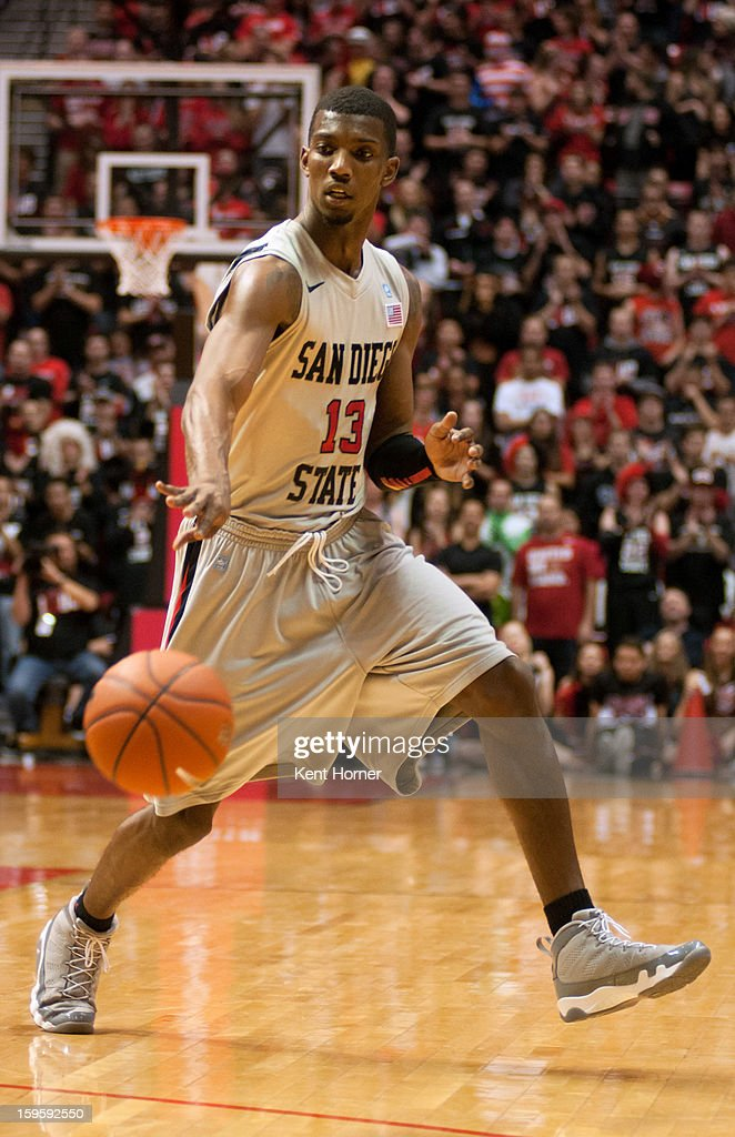 Winston Shepard #13 of the San Diego State Aztecs passes the ball in the second half of the game against the UNLV Runnin' Rebels at Viejas Arena on January 16, 2013 in San Diego, California.