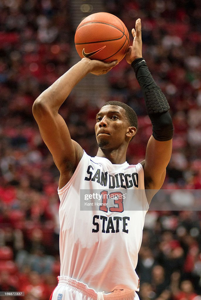 Winston Shepard #13 of the San Diego State Aztecs shoots the ball in the second half of the game against the Colorado State Rams at Viejas Arena on January 12, 2013 in San Diego, California.