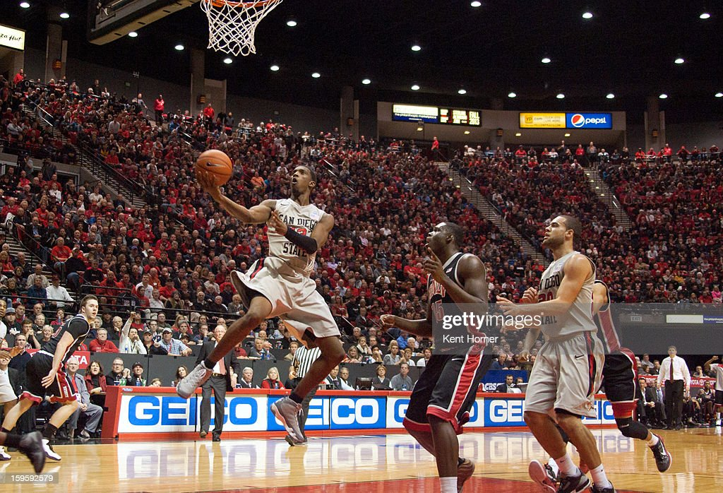 Winston Shepard #13 of the San Diego State Aztecs shoots the ball in the second half of the game against the UNLV Runnin' Rebels at Viejas Arena on January 16, 2013 in San Diego, California.