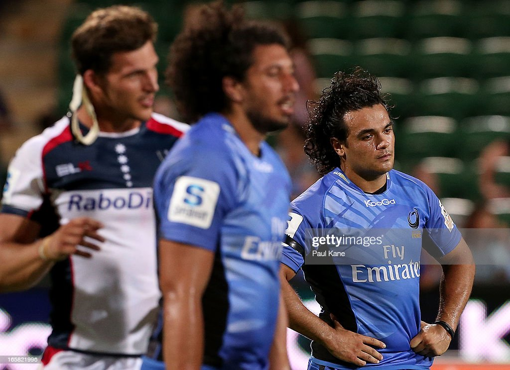 Winston Stanley of the Force looks on after being defeated during the round eight Super Rugby match between the Western Force and the Melbourne Rebels at nib Stadium on April 6, 2013 in Perth, Australia.