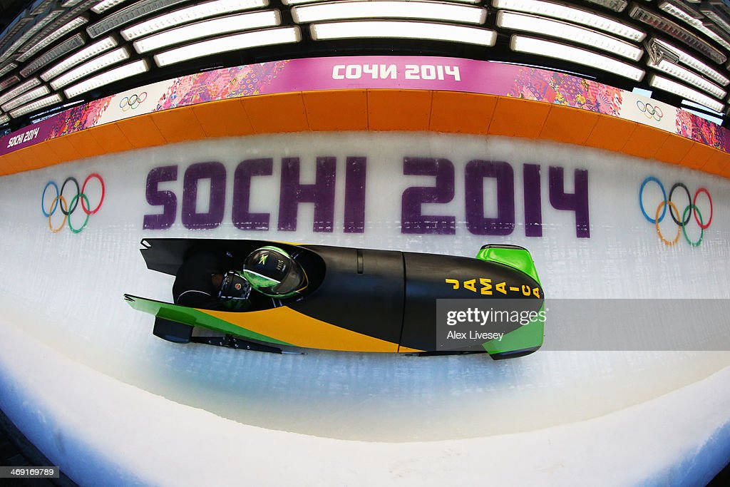 Winston Watts of Jamaica pilots a run during a Men's Twoman Bobsleigh training session on day 6 of the Sochi 2014 Winter Olympics at the Sanki...