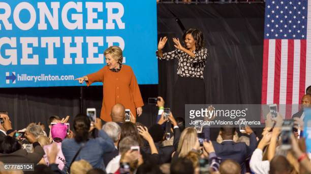WinstonSalem NC October 27 Democratic Presidential Candidate Hillary Clinton And Us First Lady Michelle Obama Appear At A Presidential Campaign Event
