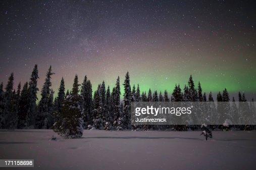 Winter Aurora and Stars