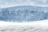 Falling snow over empty winter landscape with copy space