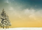 winter background with trees and snow and vintage filter effect