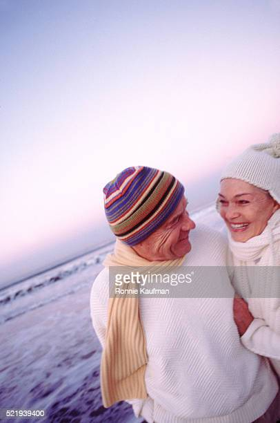 Winter beach romance