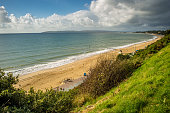 Bournemouth beach on the South coast of England, with the Isle of Purbeck in the distance.