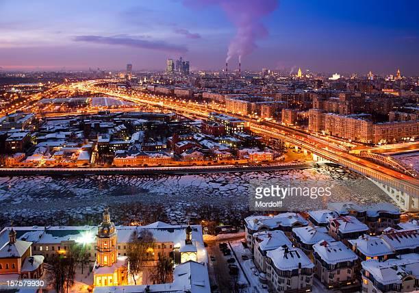 Winter die skyline der Stadt. Vogelperspektive