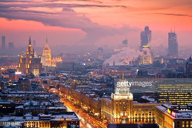 Winter cityscape at sunset. Aerial view