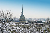 Turin, Italy, in winter. Snow covered roofs and Mole Antonelliana