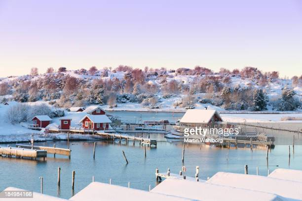 Winter coastal cottages