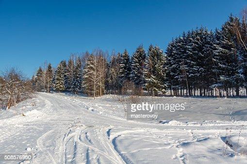 Strada di campagna invernale : Foto stock