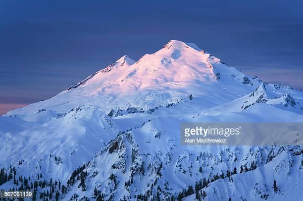 Winter dawn on Mount Baker, Washington