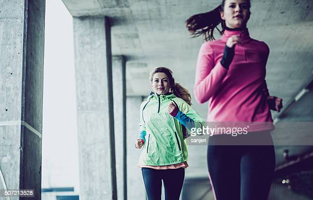 Winter day fitness exercising