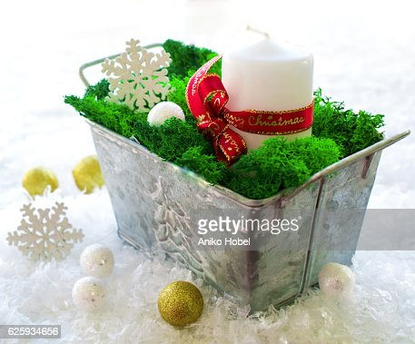 Winter decoration with white candle : ストックフォト