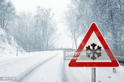 winter Auto-Schnee country road : Stock-Foto