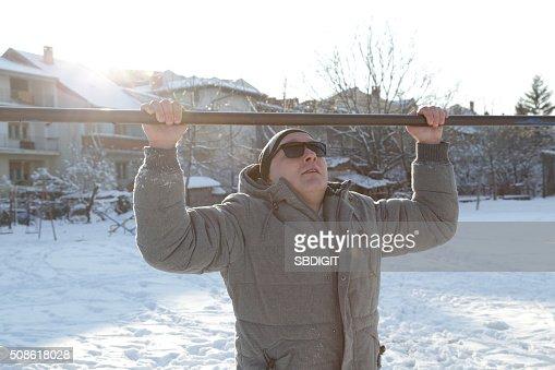 Winter exercise : Stock Photo