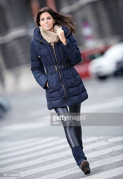 Winter Fashion, Beautiful Woman crossing the Street (XXXL)