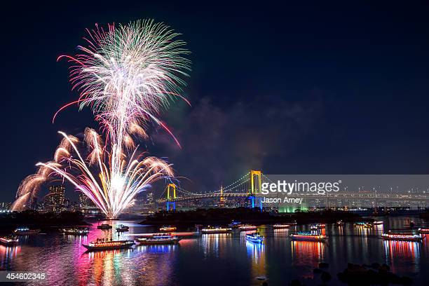 Winter fireworks in the Tokyo Bay