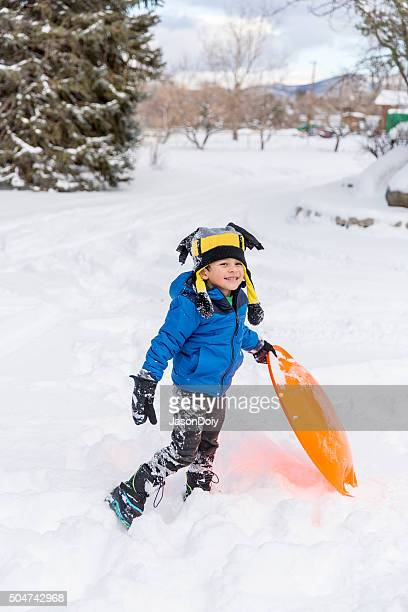 Winter Fun: Young Boy out in the Snow for Fun