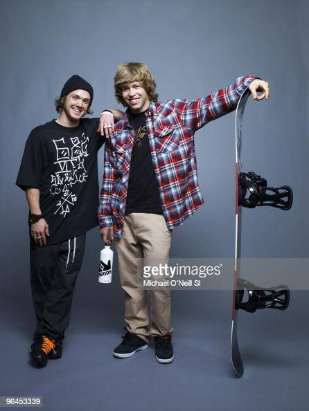 Snowboarding Olympic 2010 preview Portrait of USA halfpipe athletes Louie Vito and Kevin Pearce during photo shoot in Chicago IL on September 14 2009