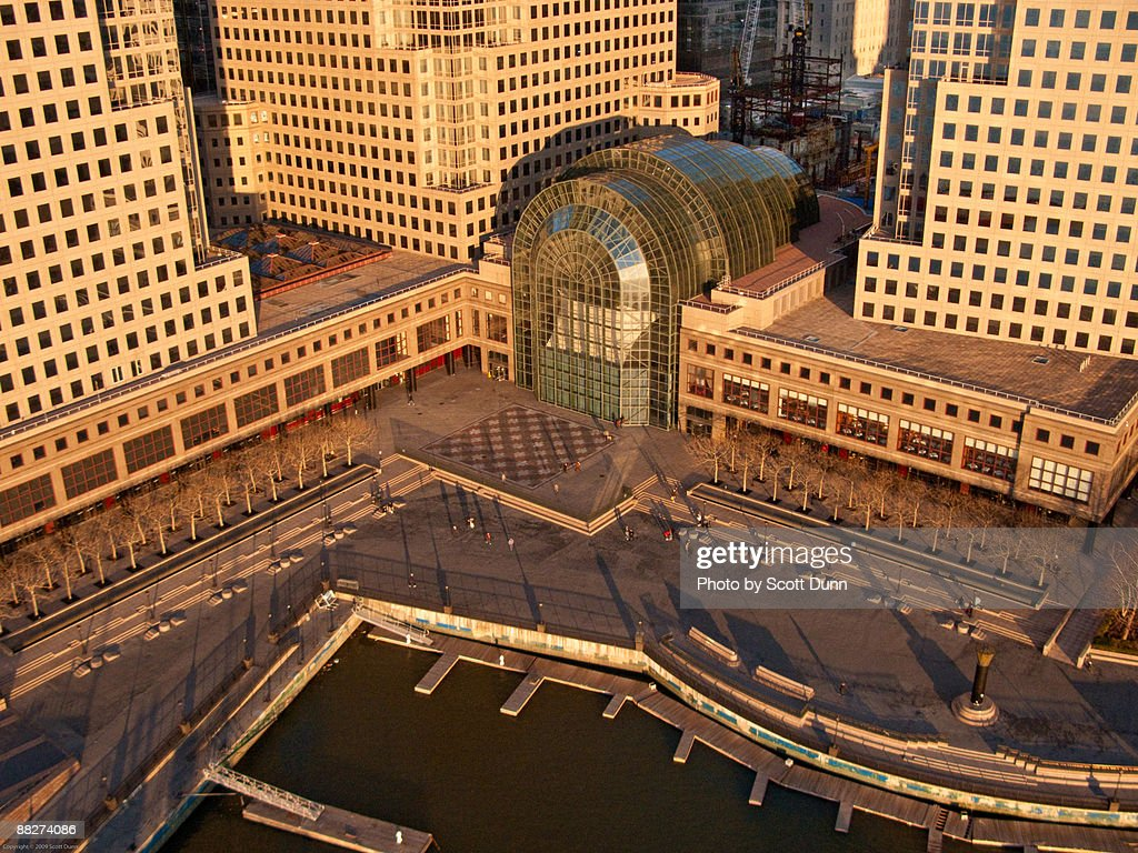 winter garden atrium at the world financial center stock photo