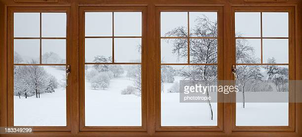 winter-Blick auf den Garten
