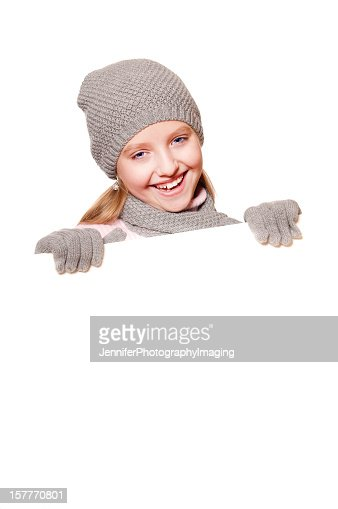 Winter Girl with Blank Sign : Stock Photo