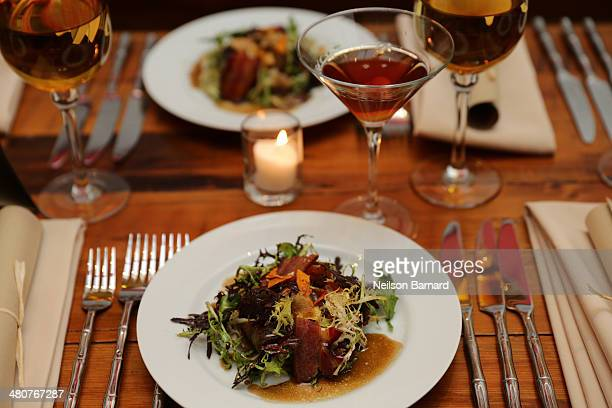 Winter Greens Maple Glazed Bacon Crispy Sweet Potatoes Sweet Onions Warm WhiskeyHoney Balsamic Vinaigrette by Amanda Freitag are served with Northern...