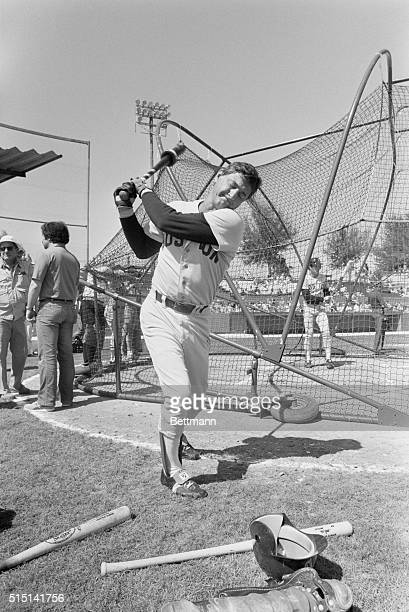 Carl Yastrzemski who bats left and throws right works out in the batting cage here Though renowned for batting Yaz also is one of the best fielders...
