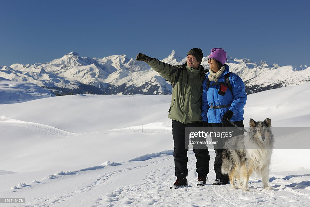 Winter hiking on Sonnenkopf plateau : Stock Photo