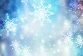 Winter blue snowy background.Christmas new year holiday illustration.Snowflakes abstract defocused patter icon.