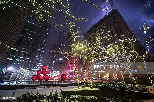 Winter holidays decorations and snow blizzard in New York