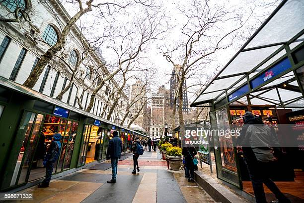 Winter holidays market in Bryant Park, NYC, USA