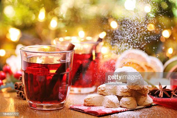 Winter hot drink and christmas cookies