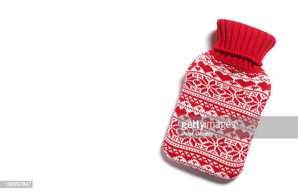 Winter hot water bottle with hearts