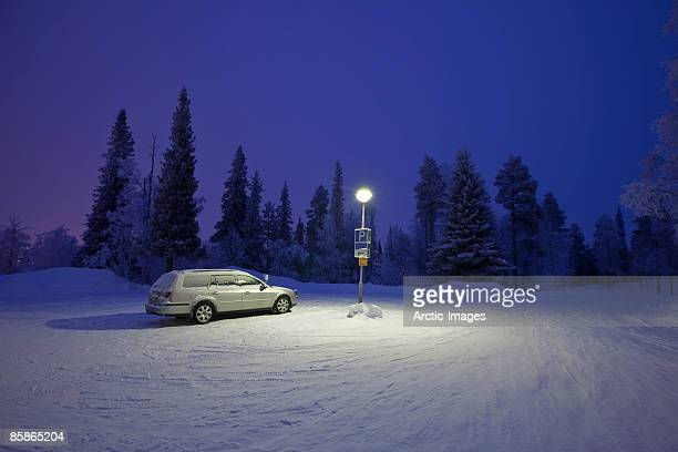 Winter in Lapland, parking lot