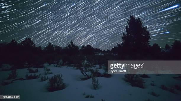 Winter in the Great Basin Night Sky Star Trails Over Oregon