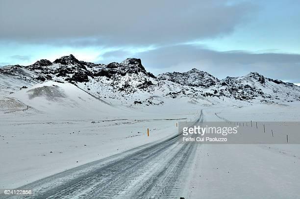Winter landscape near Borganes of Iceland