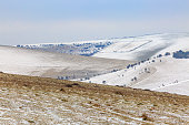 A snowy view of Mount Caburn in Sussex